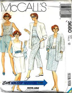 McCall's 3680 Misses Easy Non-Stop Wardrobe Pattern, Jacket, Top, Straight Skirt, Capri Pants & Shorts, Size 12, UNCUT by DawnsDesignBoutique on Etsy