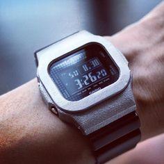"""281 Likes, 9 Comments - DAMUE JEWELRY / ダミュー (@damuejp) on Instagram: """"G-Shock DW/GB-5600用 チタン製ベゼル。 チタン鋳造時のゴツゴツとした岩のような質感を生かしたマット仕上げです。 9月販売開始予定。 -- G-Shock titatanium…"""""""