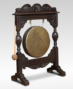 Carved Victorian oak dinner gong, the frame having foliated carved crest flanked by turned uprights All raised up on shaped trestle base. Victorian Furniture, Get Directions, Room Inspiration, Bookends, Carving, Percussion, Architecture, Antiques, Geeks