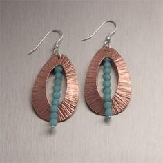 Lovely copper earrings with Amazonite gemstones