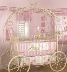 pink carriage nursery bed