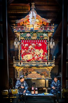 """Float or """"yatai"""" getting ready for its procession around town for the spring matsuri festival in Takayama, Japan."""