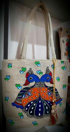 Canvas Painting Designs, Worli Painting, Fabric Paint Designs, Fabric Painting, Madhubani Art, Madhubani Painting, Kalamkari Painting, Painted Bags, Homemade Art