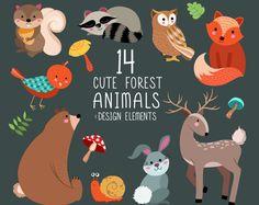Niedliche Tiere Clip Art - Digital Woodland Design Elements - Reihe von 14 300 DPI XL Vektor, PNG und JPG-Dateien