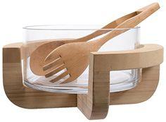 Decoris Glass Salad Bowl with Bamboo Stand