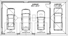 Cars 3 car garage and garage on pinterest for Standard garage size 1 car