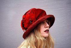 Love this color!  Love this hat! Crimson cloche