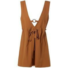 Plunging Neck Open Back Self Tie Mini Dress (655 RUB) ❤ liked on Polyvore featuring dresses, plunging neckline dress, short brown dress, short dresses, mini dress and plunging neckline mini dress