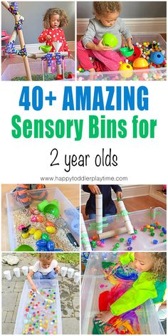 21 Amazing Sensory Bins for Toddlers - HAPPY TODDLER PLAYTIME Here are fun and amazing SENSORY BINS for toddlers and preschoolers. Learn and play with all these sensory bin ideas from rice to pom poms and more! Activities For Toddlers Toddler Sensory Bins, Baby Sensory Play, Sensory Activities Toddlers, Infant Activities, 2 Year Old Activities, Sensory Boxes, Sensory Table, Indoor Toddler Activities, Nanny Activities