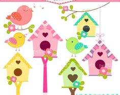 ON SALE Birds and Birdhouse Digital clip art by petittatti