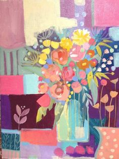 Original Acrylic Painting on Canvas 'Vase with Pink Flowersl'. Signed   eBay