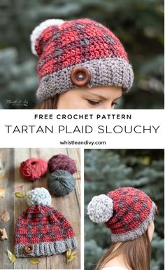 Crochet Tartan Hat - Free Crochet Pattern | Make a classic crochet tartan hat with this easy techniqie! You will love this beautiful colorwork of this hat. #crochettartan #crochetplaid #crochettartanplaid #tartanhat #crochettartanhat #tweed #tweedyarn #crochettweed #crochetforfall #crochetforwinter #crochetinspiration #crochetgifts #crochetchristmas #crochettoquepattern #crochetpattern #crochettweedpattern #chunkyarn #rusticcrochet