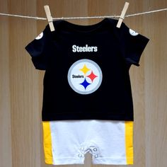 Pittsburgh Steelers Infant Fan Jersey Onesie Jumper - Licensed NFL Baby Clothes that is a newborn bodysuit baby romper, 100% cotton and has team graphic print designs. Manufactured by Adidas.