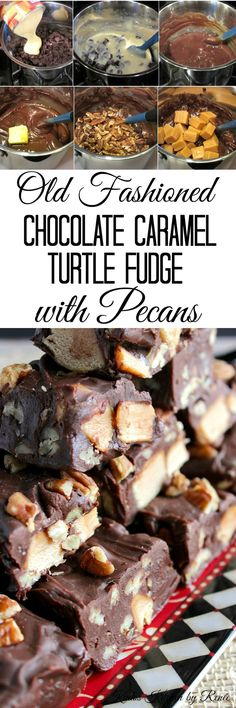 Old Fashioned Chocolate Caramel Turtle Fudge is a real winner in my book. It's fudgy, chewy, and requires only 15 minutes to make. - Kudos Kitchen by Renee - www.kudoskitchenbyrenee.com