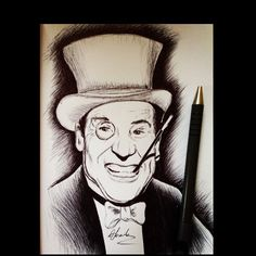 Burgess Meredith as The Penguin in the TV Show Batman. Drawn in pen by Donna Taranto