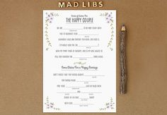 rustic rsvp post card funny   How To _____ Mad Libs At Your Wedding