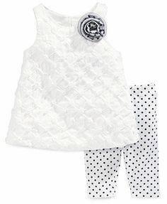 Marmellata Baby Girls' 2-Piece Soutache Top & Dot Leggings Set