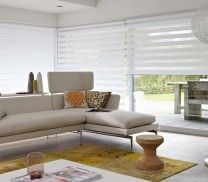The light, white contemporary look of Twist complements the large window and light room style. roller blinds # home decor Roller Cortinas, Cortinas Rollers, Persiana Double Vision, Persiana Sheer Elegance, Hospital Curtains, Modern Window Design, Store Bateau, Zebra Blinds, Window Styles