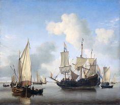 Willem van de Velde de Jonge - Schepen onder de kust voor anker