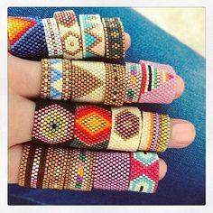 off loom beading techniques Peyote Stitch Patterns, Seed Bead Patterns, Jewelry Patterns, Peyote Beading Patterns, Bead Jewellery, Seed Bead Jewelry, Diy Schmuck, Schmuck Design, Diy Jewelry