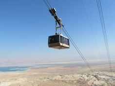 Masada aerial lift with the Dead Sea at the background