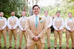 Tan and teal wedding colors.