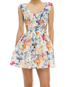 Floral Print A-Line Cutout Dress from The Shopping Bag #StyleEveryMile