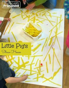 The Three Little Pigs' Straw House - Play to Learn Preschool Rhyming Preschool, Preschool Art, Preschool Activities, Book Activities, Preschool Curriculum, Preschool Learning, Fairy Tale Crafts, Fairy Tale Theme, Fairy Tales