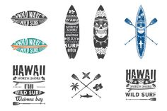 Surfing emblem set Graphics Surfing vector emblem set with hawaiian lei, surfboard, shark teeth, shark, skull and paddle. by valeri_si Tropisches Tattoo, Surf Tattoo, Decoration Surf, North Shore Hawaii, Surf Logo, Waimea Bay, Dibujos Tattoo, Sup Stand Up Paddle, Sup Yoga