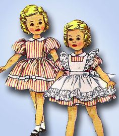 1960s Vintage Simplicity Sewing Pattern 3217 12 Inch Shirley Temple Doll Clothes #Simplicity