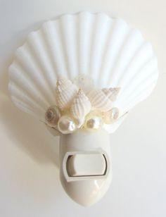 Beach Decor Scallop Sea Shell Night Light by CereusArt on Etsy, $15.00