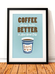Coffee print New York art New York coffee by TheIndoorType on Etsy, £10.99