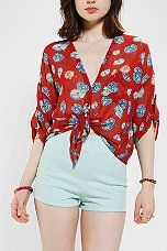 Urban Outfitters - Pins And Needles Tie-Front Bed Jacket Blouse