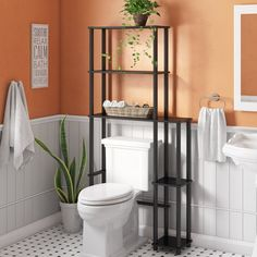 Ebern Designs Antonucci W x H x D Over-The-Toilet Storage Finish: Gray/Black Diy Bathroom Decor, Small Bathroom, Bathroom Shelves, Bathroom Storage, Bathroom Ideas, Over Toilet Storage, Shower Storage, Mirror Bathroom, Bathroom Cabinets