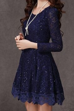 Ruffled Design Long Sleeve Lace Dress In Dark Blue on Luulla Pretty Outfits, Pretty Dresses, Beautiful Dresses, Gorgeous Dress, Casual Dresses, Short Dresses, Prom Dresses, Costume, Mode Outfits