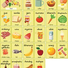 Kleur Plakkate A4 - Teacha! Bread Jam, Milk Ice Cream, Meat Chickens, Afrikaans, A4, Food, Essen, Meals, Yemek