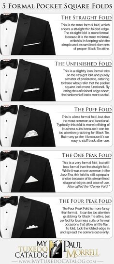 5 Formal Pocket Square Folds #infografía