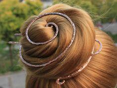 Large Hair Pin Antique Copper Hair Clip Hair Fork, Textured Hair Bun Holder Hair Stick Hair Slide, H Bijoux Fil Aluminium, Copper Hair, Hair Sticks, Clip, Hair Today, Textured Hair, Bun Hairstyles, Hair Jewelry, Hair Slide