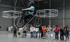 Flying bicycle, carrying a dummy, demonstrated by its creators in Prague.