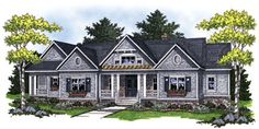 Expansive ranch home with 4 bedrooms and large great room with cathedral ceiling.  House Plan #  221057.