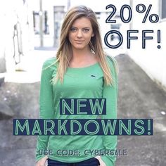 New Markdowns!! Use discount code: CYBERSALE for 20% off!! http://ift.tt/1m7YrY2