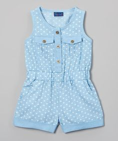 Another great find on Sweet & Soft Light Blue Chambray Hearts Romper - Infant & Toddler by Sweet & Soft African Dresses For Kids, Little Girl Dresses, Baby Girl Dress Patterns, Baby Dress, Baby Girl Fashion, Kids Fashion, Girls Denim Shirt, Dress Anak, Toddler Girl