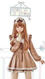 Gyaru mori style brown plaid and lace long sleeve short dress