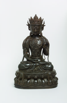 Guanyin, dark copper alloy Chinese, Yuan, 14th century Height: 11.14 in. (28.3 cm)