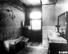 A period photo taken of the bathroom in a house built in 1842.  This photo was taken in 1862.