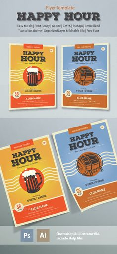 Happy Hour Flyer Template PSD, Vector AI. Download here: http://graphicriver.net/item/happy-hour-flyer-template/14728898?ref=ksioks