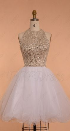 Halter beaded sparkle short prom dresses backless white prom dresses short homecoming dresses
