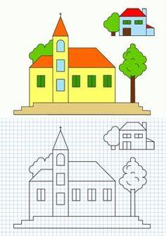 Cornicette con case e edifici Graph Paper Drawings, Graph Paper Art, Cute Drawings, Drawing For Kids, Art For Kids, Math Patterns, Pixel Drawing, Blackwork Patterns, Blackwork Embroidery