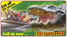Tom and Jerry's Airboat Rides. 40 min from Ocala.   $34 for an adult, $24 for a child.
