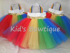 Set of 6 Over the Rainbow Party Favor Tutu Bags by kidsbowtique